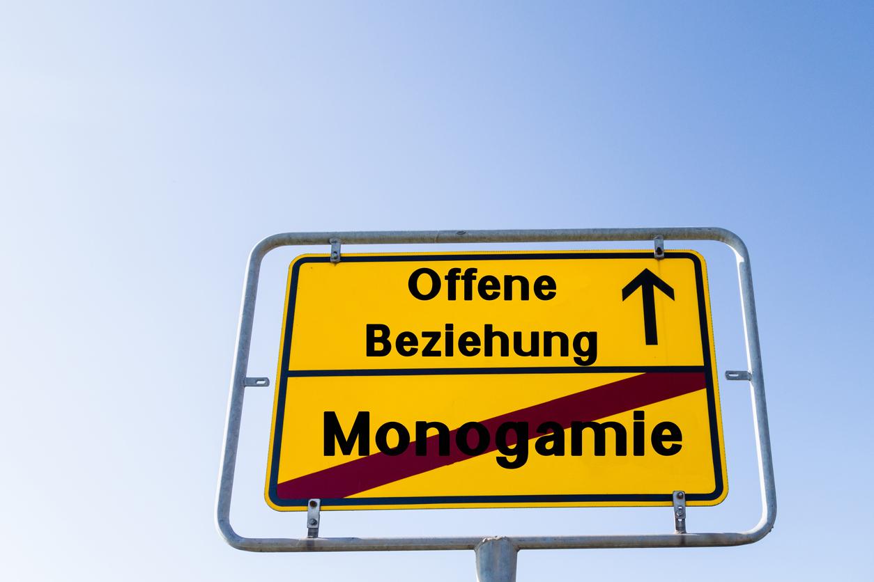 Ortsschild Monogamie Ende, offne Beziehung geradeaus