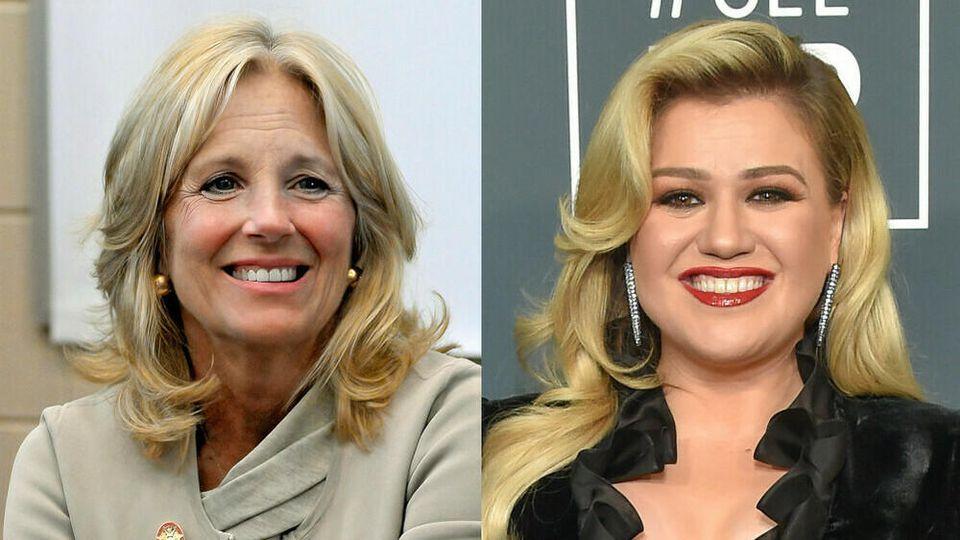 US-First-Lady Jill Biden (l.) war bei Kelly Clarkson zu Gast