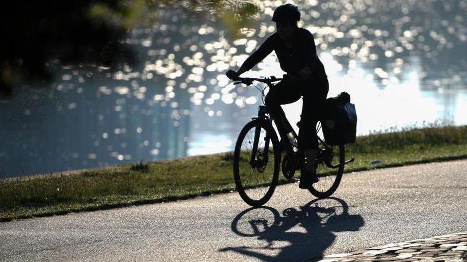 Eine Frau fährt am frühen Morgen mit ihrem Fahrrad am Mainufer der Bankenstadt entlang. Foto: Arne Dedert/dpa/Archivbild