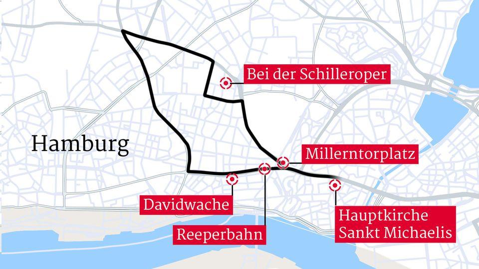 Der Trauerzug für Jan Fedder - Start ist am Michel in Hamburg