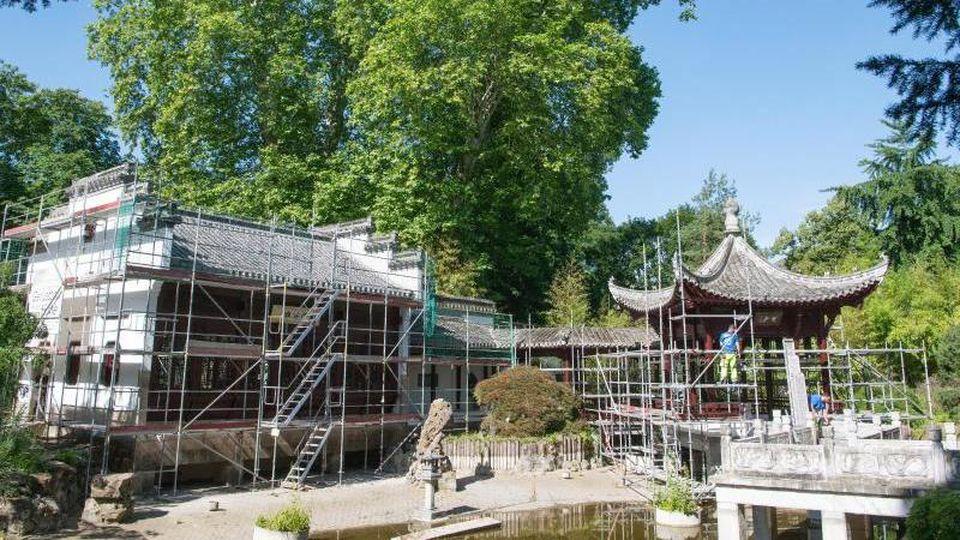 Der chinesische Pavillon im Frankfurter Bethmannpark ist während der Bauphase eingerüstet. Foto: Boris Roessler/dpa/Archivbild