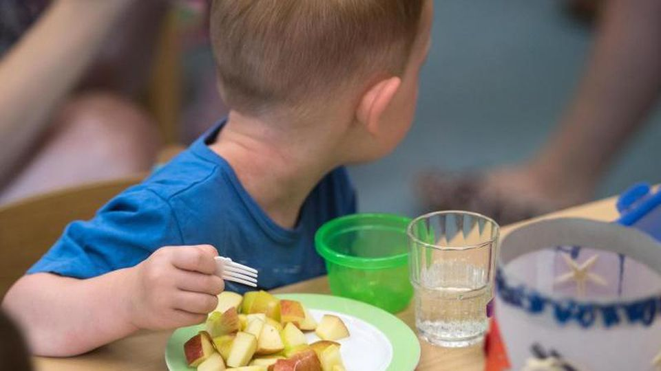 Ein Kind isst in einer Kita Apfelstücke. Foto: Andreas Arnold/dpa/Archivbild