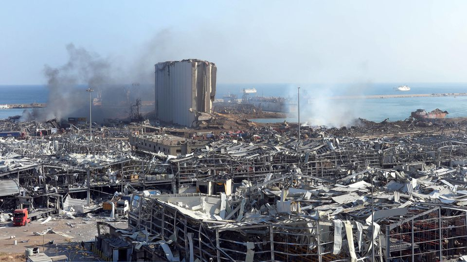 A destroyed silo is seen amid the rubble and debris aftermath of a massive explosion in Lebanon s capital Beirut, on Wed