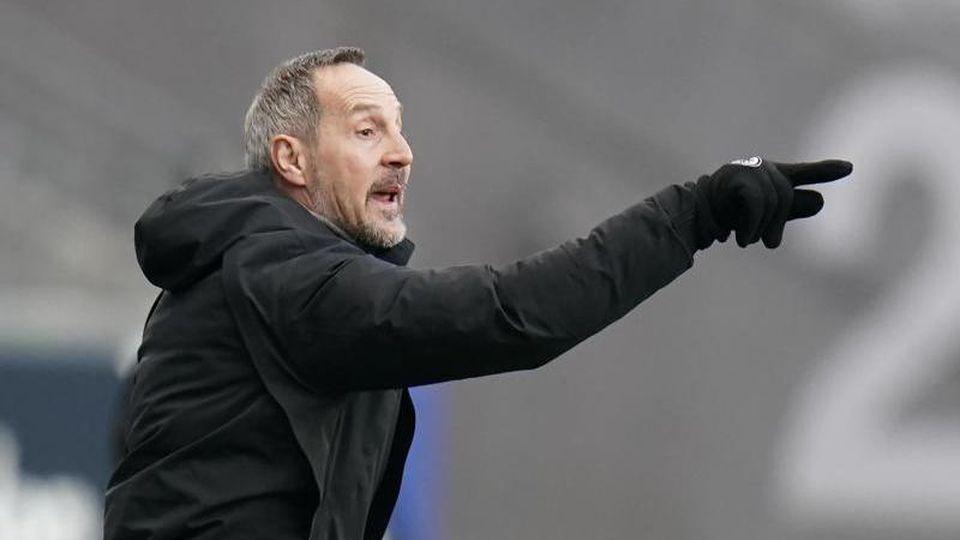 Eintracht Frankfurts Trainer Adi Hütter. Foto: Thomas Frey/dpa/Archivbild
