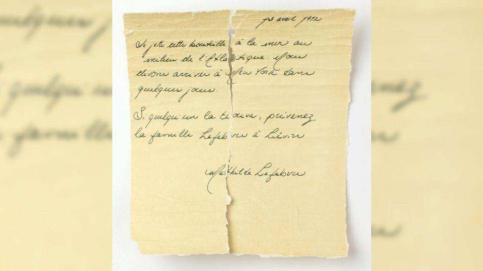 Diese Zeilen soll Mathilde 1912 auf der Titanic geschrieben haben.