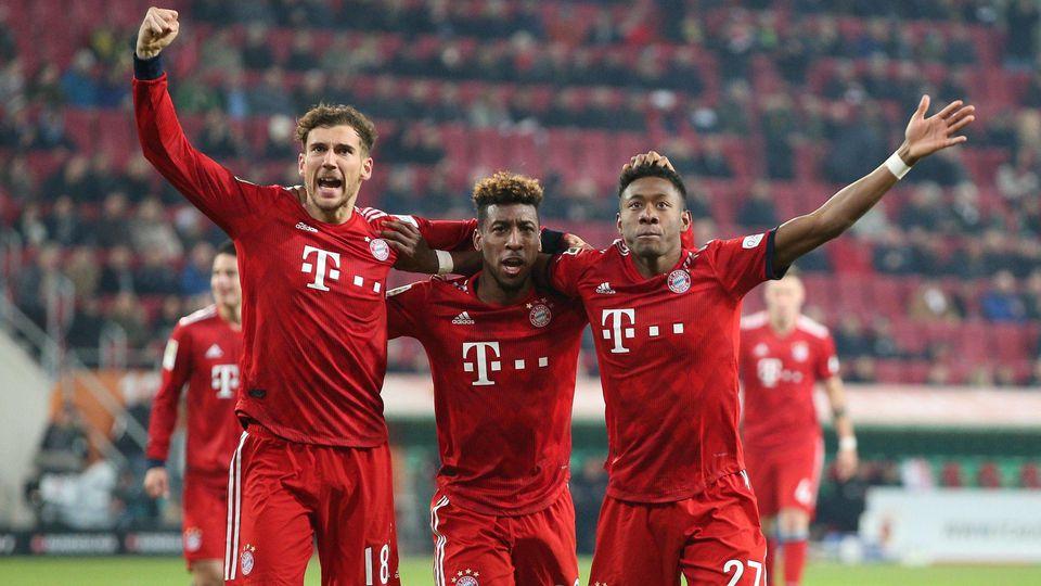 Torjubel von Leon Goretzka 18 FC Bayern Muenchen Kingsley Coman 29 FC Bayern Muenchen David Al