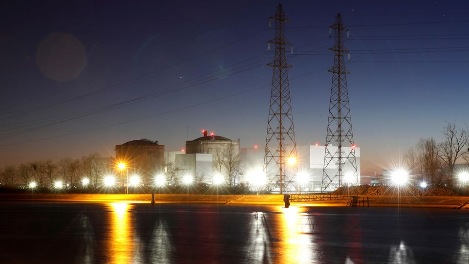 Night view shows Electricite de France nuclear power plant near Fessenheim