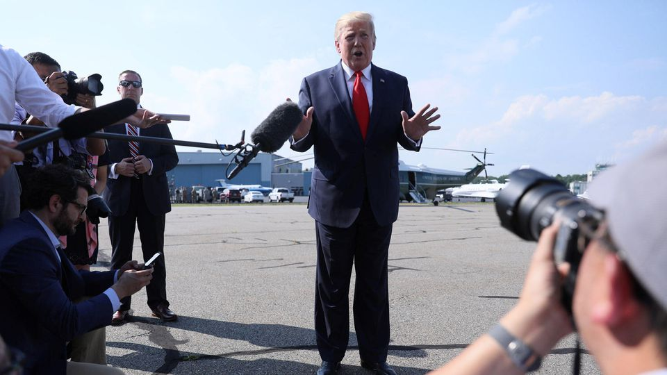 U.S. President Trump boards Air Force One at Morristown Municipal Airport in Morristown, New Jersey