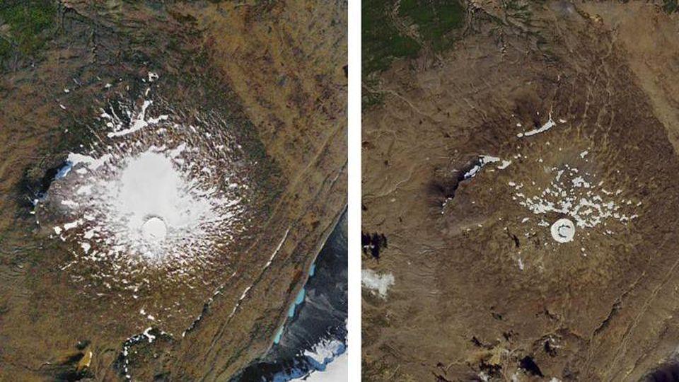 Links: Luftaufnahme des damals noch existierenden Okjökull-Gletschers aus dem Jahr 1986. Rechts: Vom geschrumpften Gletscher ist im August 2019 nur ein kleiner Fleck aus Eis übrig. Foto: AP