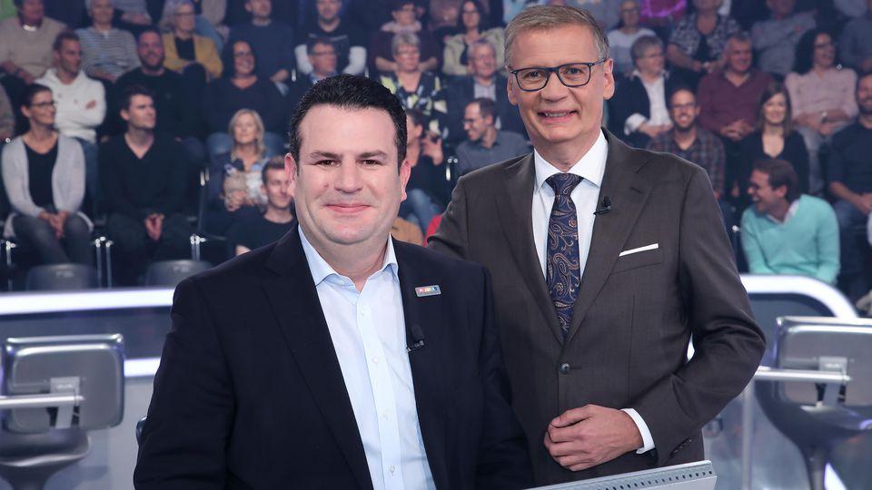 """""""Wer wird Millionär?""""-Moderator Günther Jauch mit Bundesminister Hubertus Heil"""