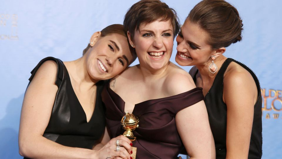 """""""Girls"""" creator and actress Dunham with cast members Williams and Mamet after """"Girls"""" won award for Best Televison Series, Comedy or Musical at 70th annual Golden Globe Awards in Beverly Hills"""