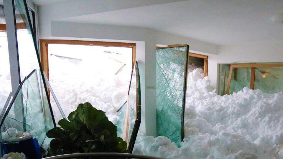 Schnee im Wellnessbereich des Hotel Hubertus in Balderschwang. Foto: Benjamin Liss/Archiv