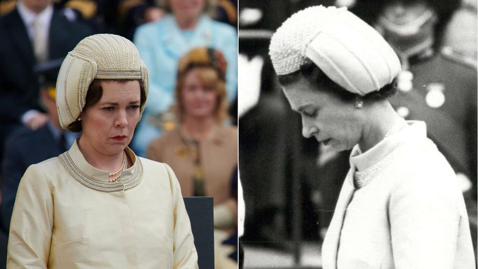 "Links: Olivia Colman als Queen Elizabeth II. in ""The Crown"", rechts: die echte Königin 1969 in Wales"