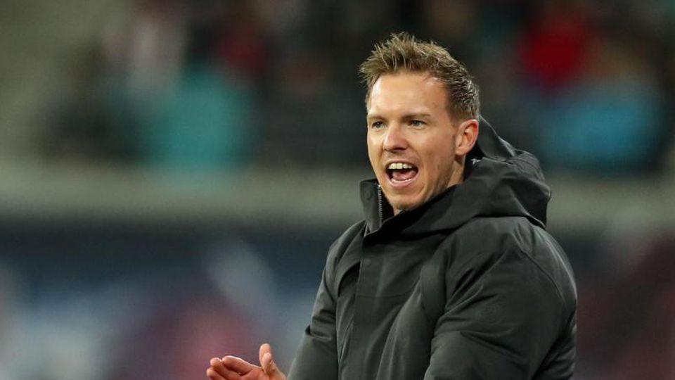 Leipzigs Trainer Julian Nagelsmann reagiert an der Seitenlinie. Foto: Jan Woitas/dpa-Zentralbild/dpa
