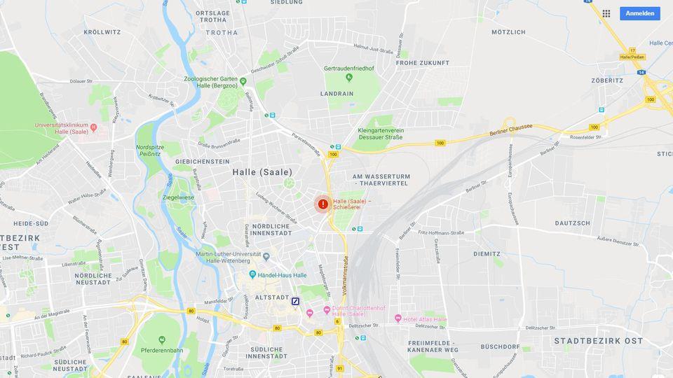 Google Maps: SOS-Warnmeldung warnt erstmals vor Schießerei in Halle.