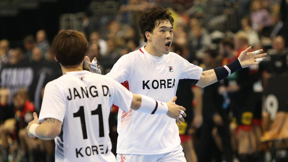 Jubel bei NA Seungdo (Korea) beim Eroeffnungsspiel Korea gegen Deutschland der Handball- WM 2019 der Maenner am 10.01.2019 in der Mercedes-Benz Arena in Berlin Handball - WM 2019 - Gruppe A - Korea vs Deutschland *** Rejoicing at NA Seungdo Korea at