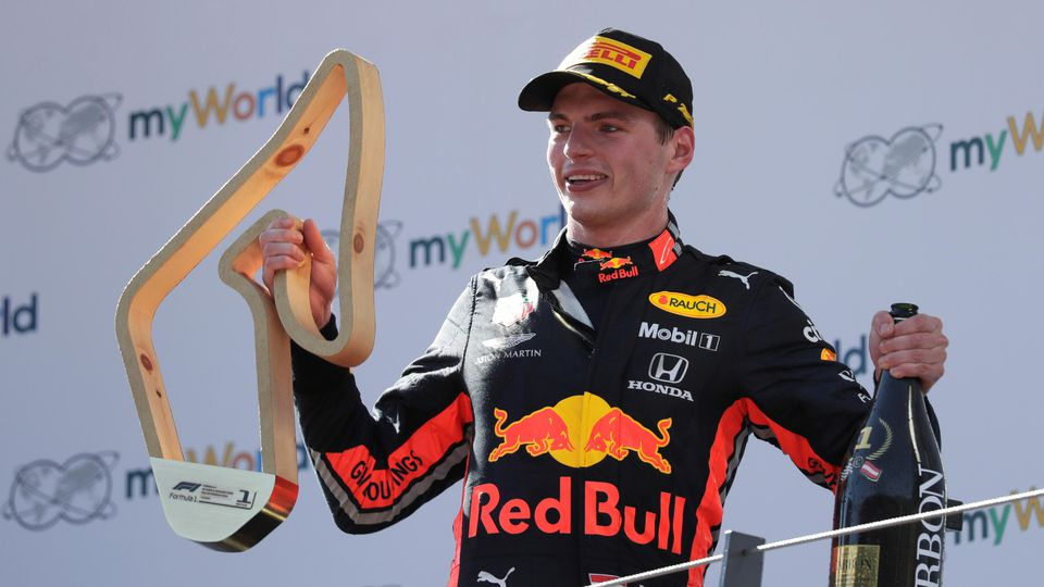 Formula One F1 - Austrian Grand Prix - Red Bull Ring, Spielberg, Austria - June 30, 2019   Red Bull's Max Verstappen celebrates after winning the race on the podium   REUTERS/Leonhard Foeger