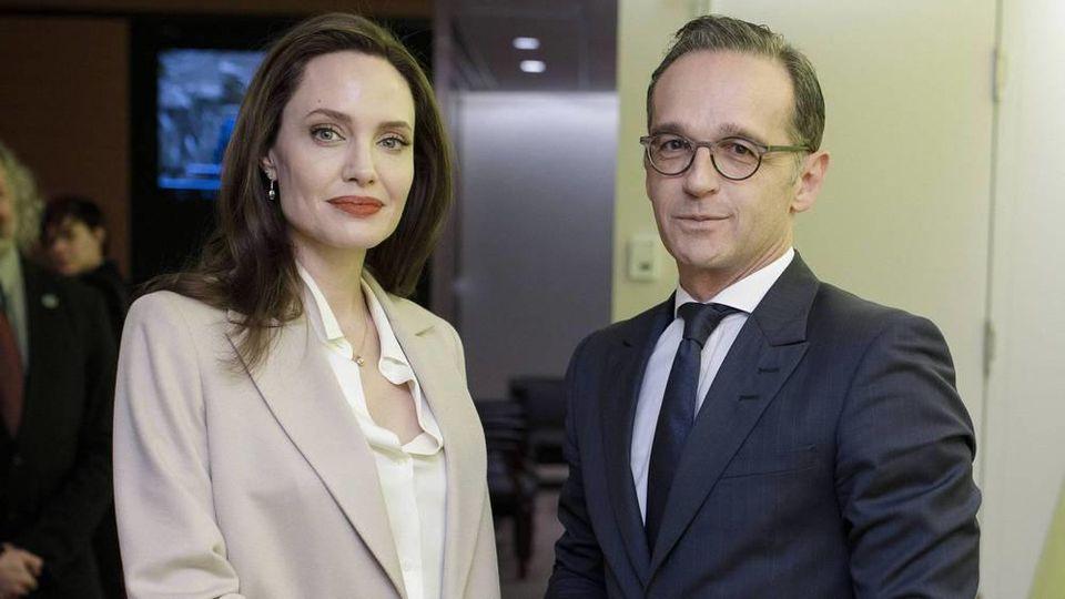 Bundesaußenminister Heiko Maas Ende März bei seinem Treffen mit Angelina Jolie