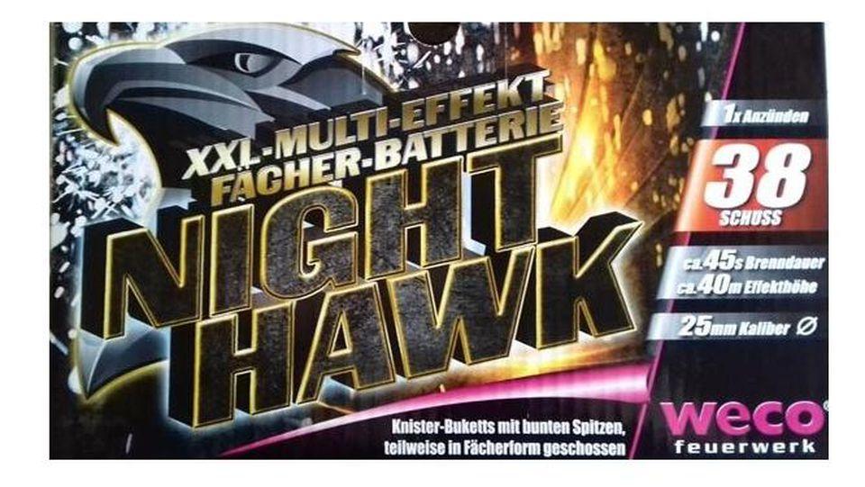 Rückruf von Feuerwerkskörpern: Night Hawk von Weco