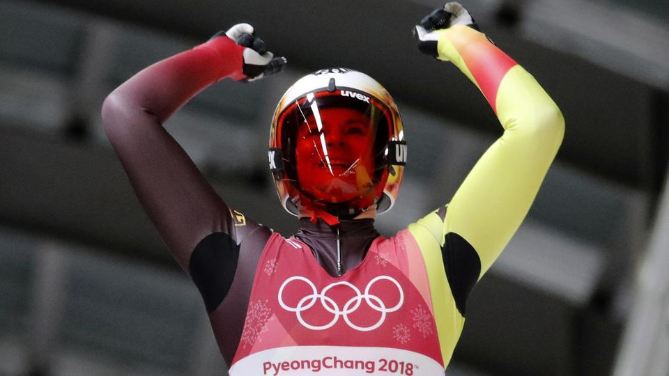 Luge – Pyeongchang 2018 Winter Olympics – Women's Singles Competition – Olympic Sliding Centre - Pyeongchang, South Korea – February 12, 2018 - Natalie Geisenberger of Germany reacts after her run. REUTERS/Arnd Wiegmann