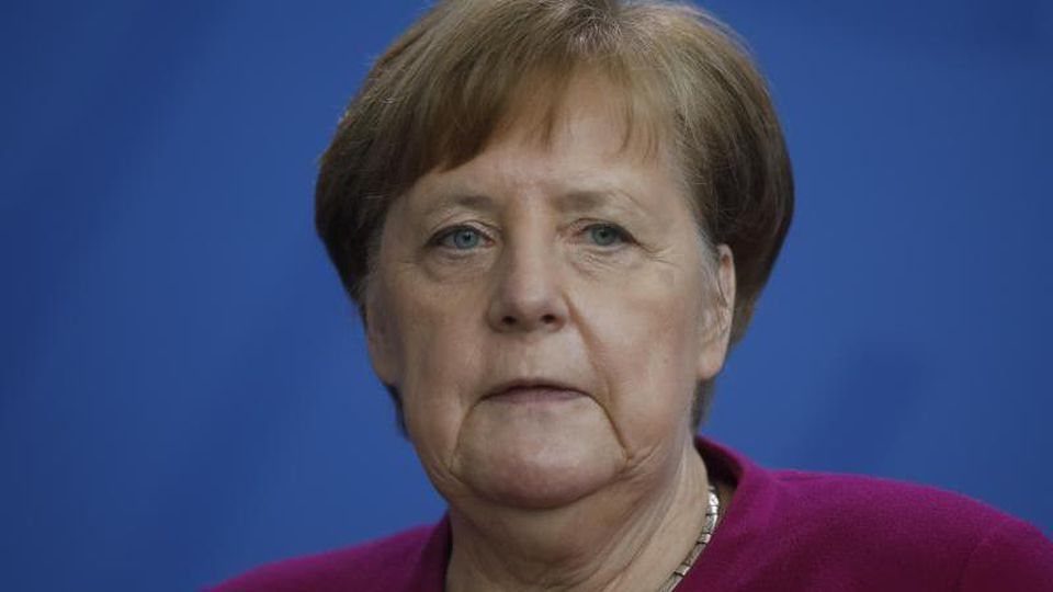Bundeskanzlerin Angela Merkel bei einer Pressekonferenz zum Kampf gegen das Coronavirus. Foto: Markus Schreiber/AP POOL/dpa