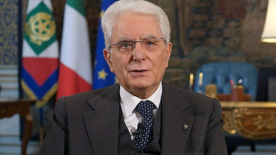 Italian President Sergio Mattarella speaks during a rare televised address to the nation as Italy battles a spread of coronavirus disease (COVID-19) in Rome