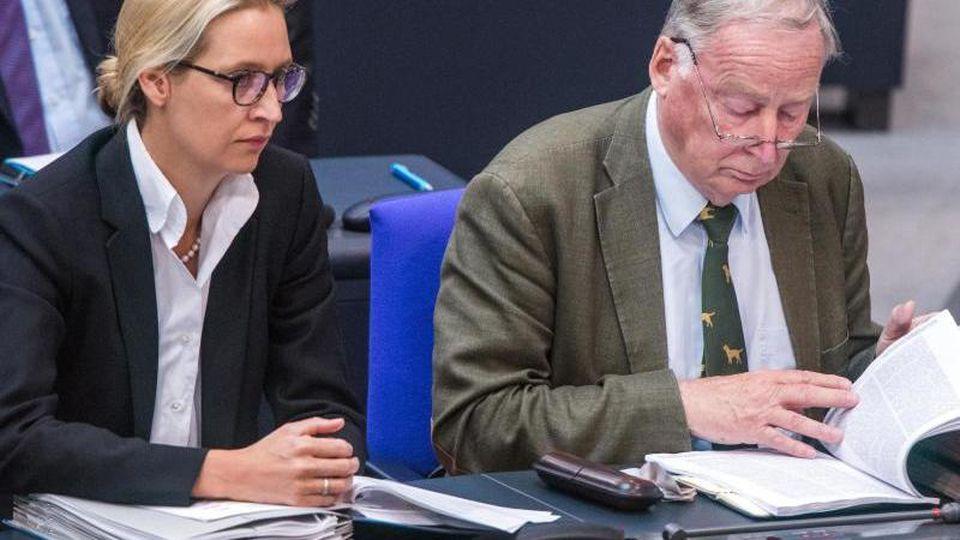 Die Fraktionsvorsitzenden der AfD, Alice Weidel und Alexander Gauland. Der Verfassungsschutz hat die gesamte Partei jetzt als Verdachtsfall eingestuft.
