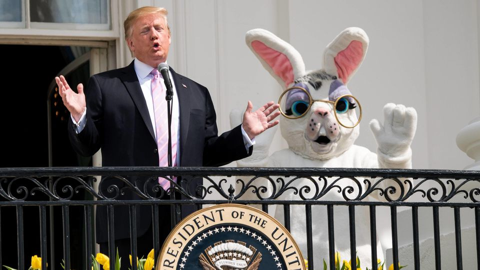 President Donald Trump accompanied by the Easter Bunny delivers remarks at the White House Easter