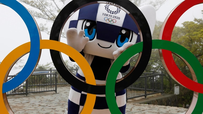 April 14, 2021, HACHIOJI, JAPAN: Tokyo 2020 Olympic Games, Olympische Spiele, Olympia, OS mascot Miraitowa poses with a