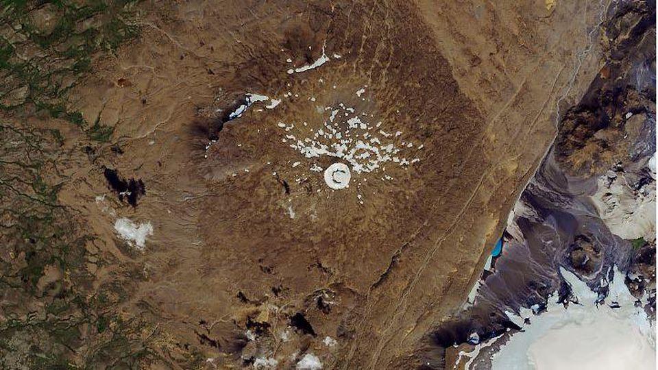 Dieser Gletscher ist tot. (Satellitenaufnahme vom 1. August 2019)