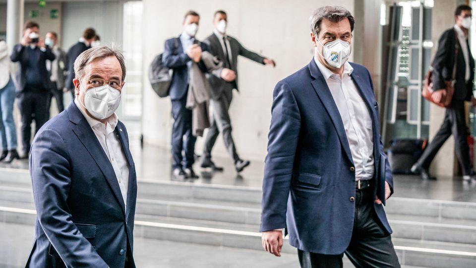 Kanzlerkandidatenfrage der Union: Medienberichten zufolge sind Armin Laschet und Markus Söder weiterhin in Gesprächen.