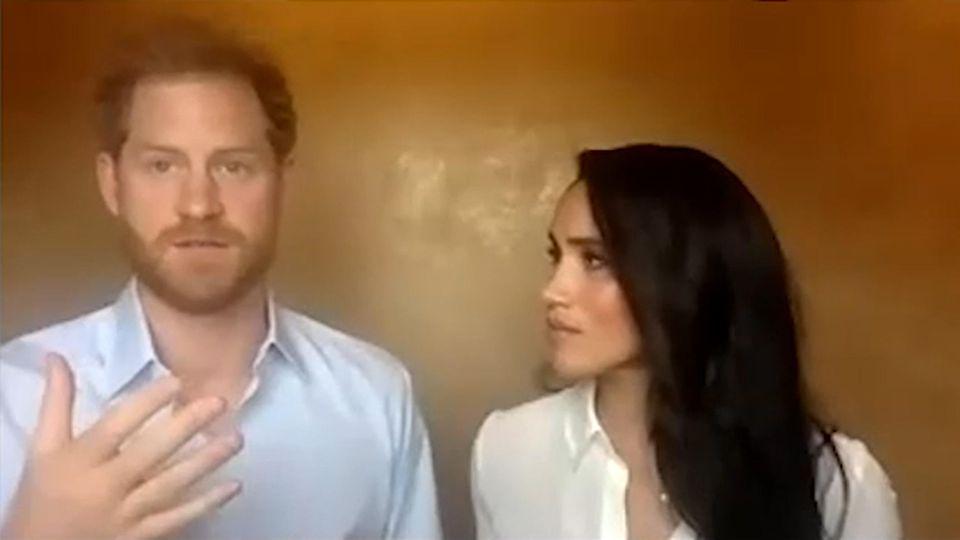Prinz Harry und Herzogin Meghan bei Videokonferenz