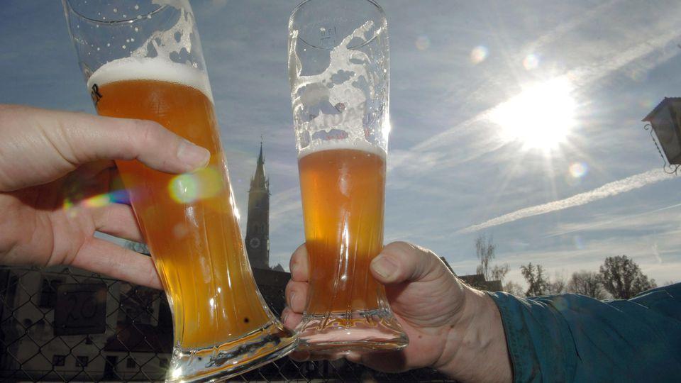 ARCHIV - Zwei Männer stoßen in einem Biergarten in der Innenstadt von Landshut (Niederbayern) mit zwei Gläsern Weizenbier an (Archivfoto vom 16.11.2006). Der Verband Private Brauereien Deutschland informiert auf einer Pressekonferenz über Gentechnik