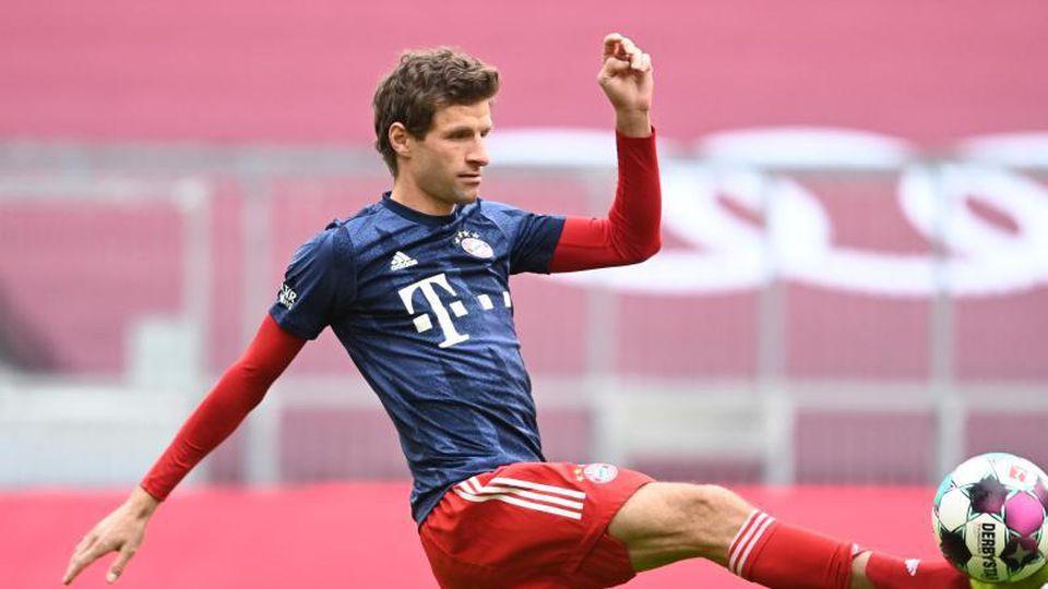 Münchens Thomas Müller beim Aufwärmen. Foto: Sven Hoppe/dpa