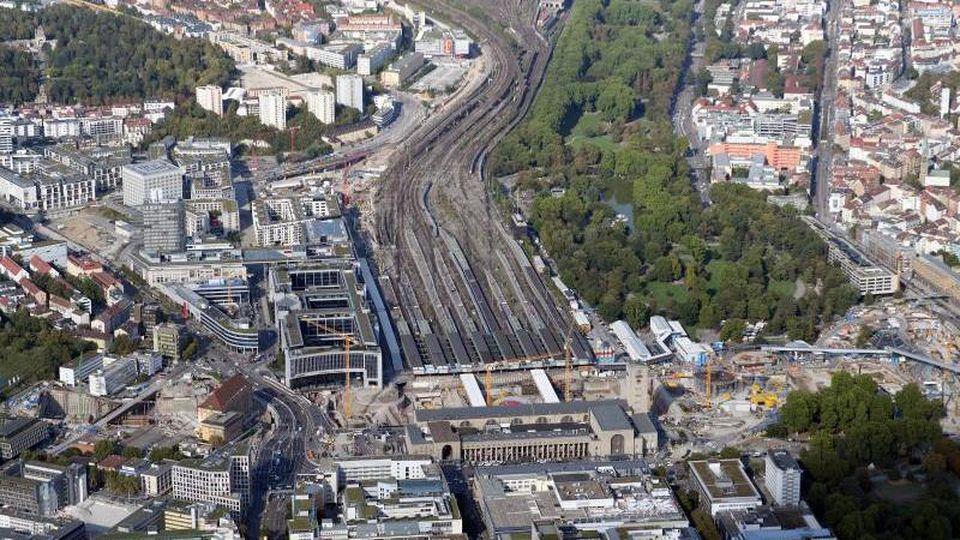 Die Baustelle Stuttgart 21, aufgenommen aus der Luft (Flugzeug). Foto:Bernd Weisbrod/Archivbild