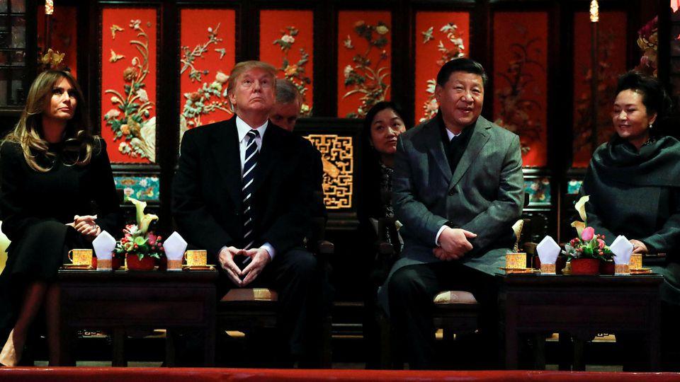 Donald Trump, Ehefrau Melania, Xi Jinping, Ehefrau Peng Liyuan in der Verbotenen Stadt