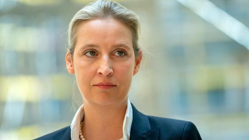 Alice Weidel (AfD) spricht zu Medienvertretern. Foto: Kay Nietfeld/dpa/Archivbild