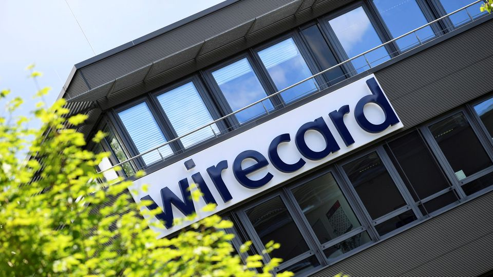 FILE PHOTO: The logo of Wirecard AG is pictured at its headquarters in Aschheim