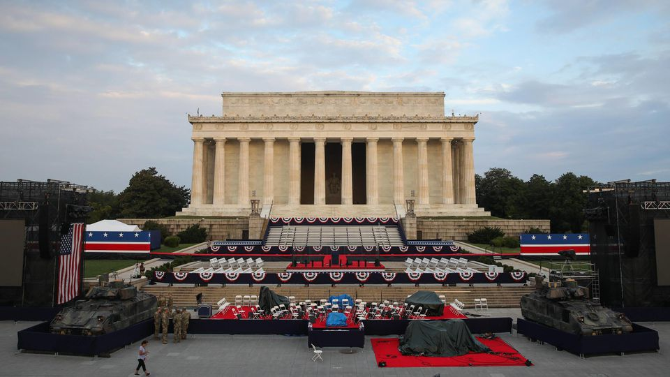 The sun rises on the Lincoln Memorial hours before President Donald Trump s Salute to America Independence Day event honoring the military, Thursday, July 4, 2019, in Washington, D.C. Later today President Trump will hold an Independence Day rally fe