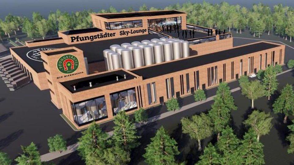 Die Computer-Darstellung zeigt den geplanten Neubau der Pfungstädter Brauerei in Südhessen. Foto: Pfungstädter Brauerei/dpa