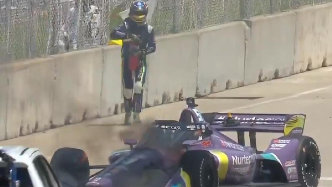 Romain Grosjean musste elf Runden vor Schluss das Rennen in Detroit beenden.
