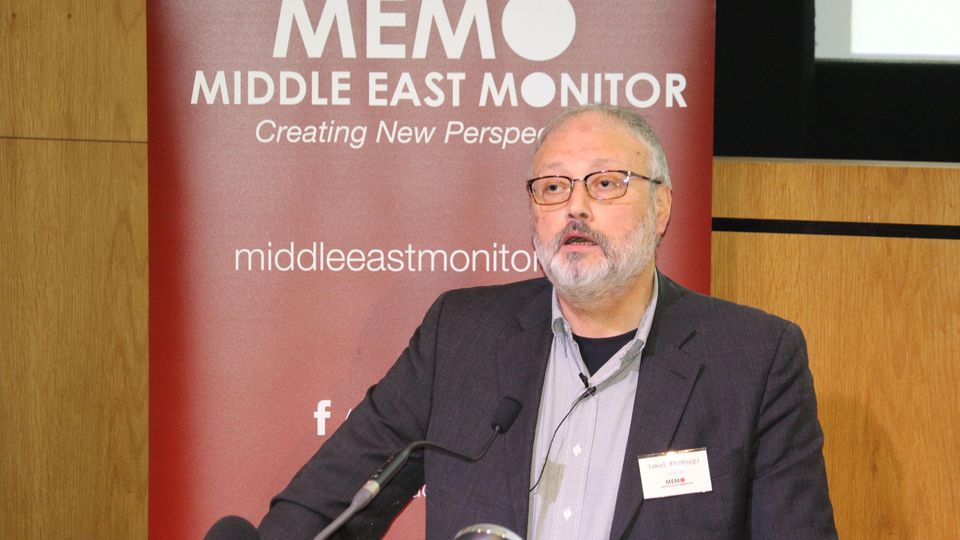 Saudi dissident Jamal Khashoggi speaks at an event hosted by Middle East Monitor in London Britain, September 29, 2018. Picture taken September 29, 2018. Middle East Monitor/Handout via REUTERS.  ATTENTION EDITORS - THIS IMAGE WAS PROVIDED BY A THIRD