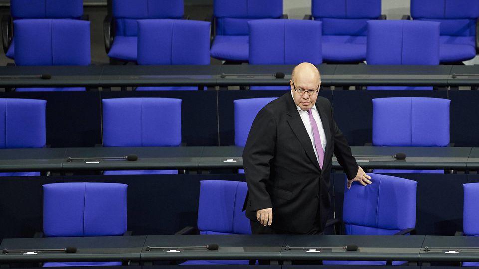 Bundeswirtschaftsminister Peter Altmaier, CDU, auf der Regierungsbank im Bundestag, 14.03.2018. Berlin Deutschland ***