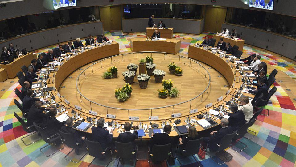 Blick auf die EU-Staats- und Regierungschefs während eines EU-Gipfels.