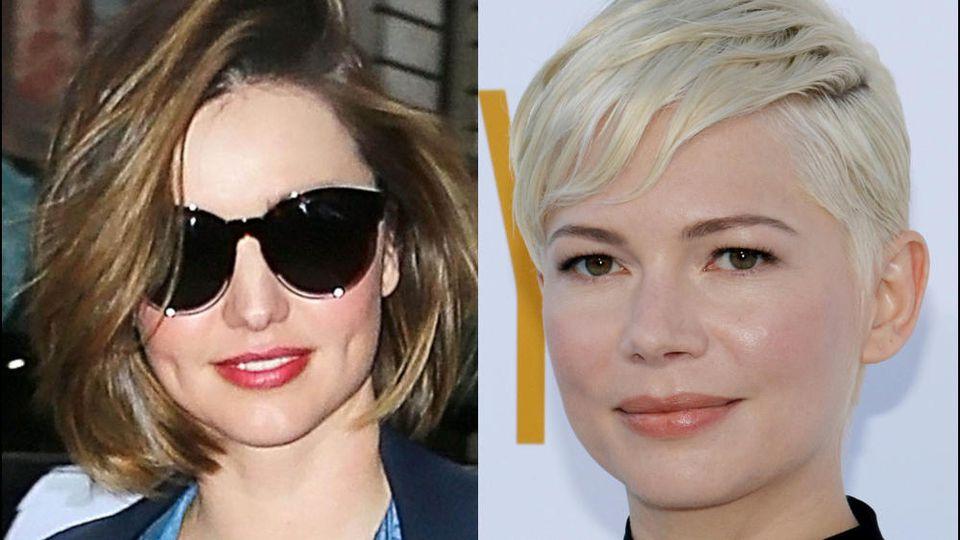 Miranda Kerr und Michelle Williams haben beide ein eher rundes Gesicht - und die perfekte Frisur dazu
