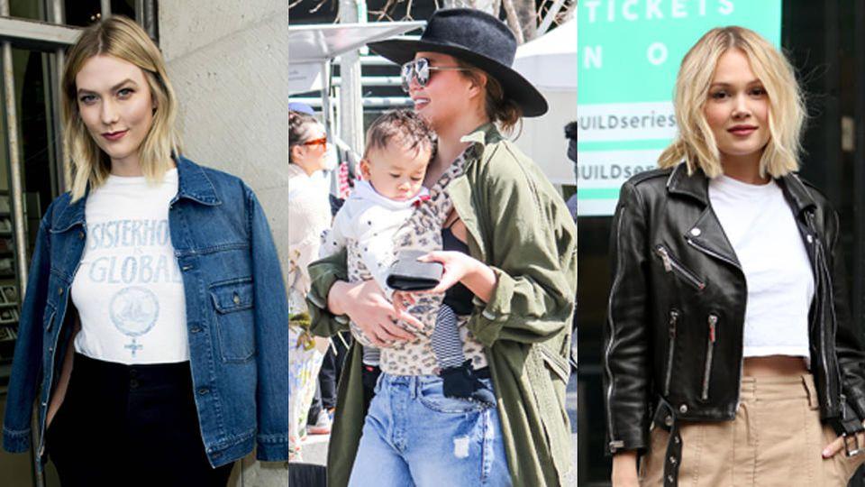 Karlie Kloss, Chrissy Teigen, und  Kelli Berglund  (v.l.) lassen mit ihren Jacken Frühlingsgefühle aufkommen.