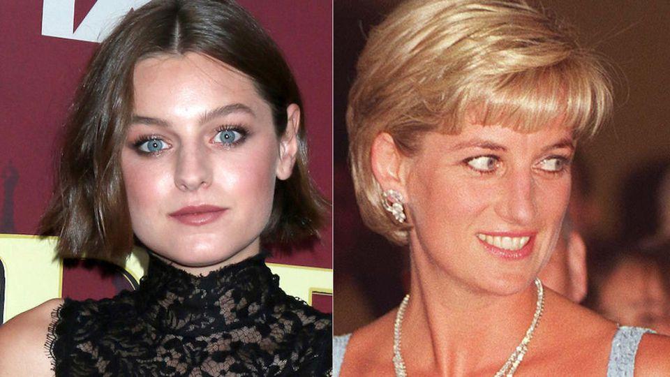 "Emma Corrin (li.) spielt Prinzessin Diana in ""The Crown""."