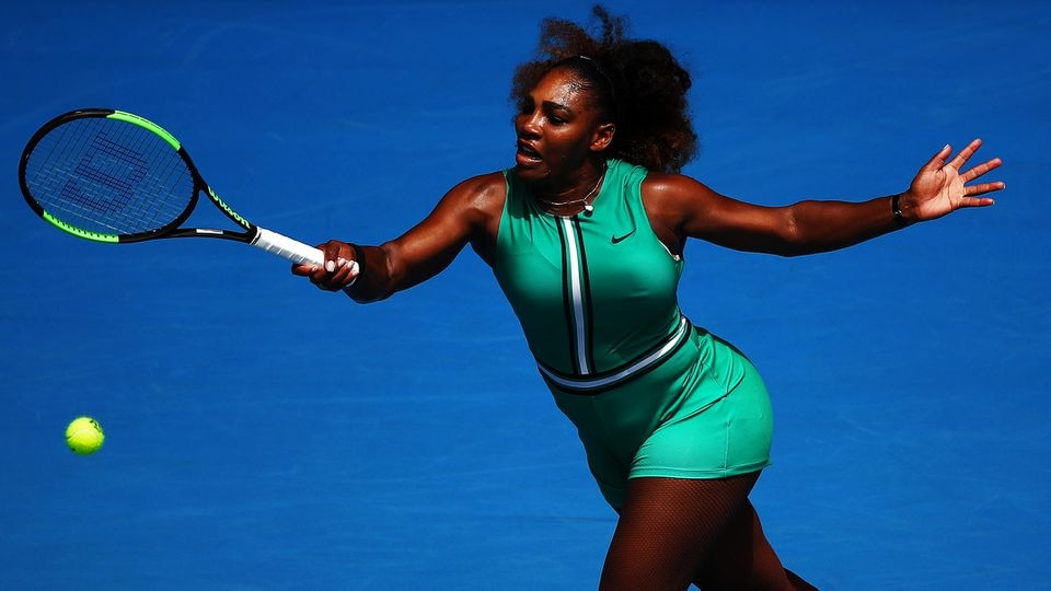 MELBOURNE, AUSTRALIA - JANUARY 15:  Serena Williams of the United States in action in her first round match against Tatjana Maria of Germany during day two of the 2019 Australian Open at Melbourne Park on January 15, 2019 in Melbourne, Australia. (Ph