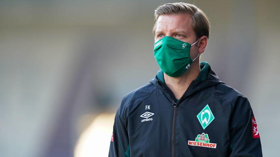 1.FC Heidenheim vs SV Werder Bremen - Relegation 02 - 06.07.2020 Florian Kohfeldt (Trainer SV Werder Bremen), mit CORON