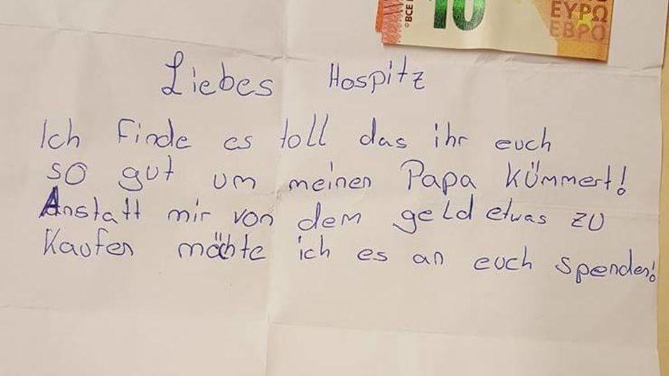 Mit einem rührenden Brief bedankt sich die elfjährige Lena beim Hospiz in Herne dafür, dass sie ihrem todkranken Vater helfen.